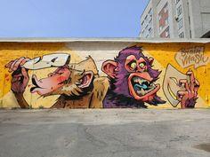 Jovanny Brainmash & Vadim Mezzo in Novosibirsk, Russia, 2019 Installation Street Art, Murals Street Art, Graffiti Wall, Mural Art, Street Art Graffiti, Graffiti Doodles, Art Optical, Art Addiction, Cartoon Styles