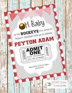 Ohio State Buckeyes Baby Shower Invitation, Buckeyes Baby Shower Invite, Scarlet and Gray Baby Shower Polka Dot Digital and Print Invitation by RSVP2mebyAshley on Etsy