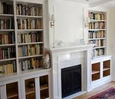 Fireplace and built-in inspiration Library Fireplace, Fireplace Bookshelves, Bookshelves Built In, Fireplace Mantels, Mantles, Alcove Shelving, Shelving Design, Wall Shelves, Book Shelves