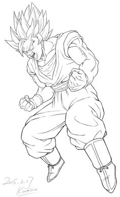 Commission: 150317 Taivan by karoine on DeviantArt - Commission: 150317 Taivan by karoine - Goku Drawing, Ball Drawing, Dbz Drawings, Easy Drawings, Anime Goku, Coloring Books, Coloring Pages, Dragon Ball Gt, Anime Sketch