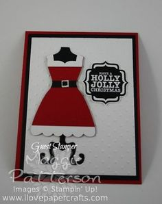 Mrs Claus Dress with Dress Framelits (Designed by Sarah Wills) #dressframelits #christmascard #stampinup