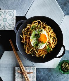 All-day noodles with fried egg and Furikake recipe- Cook noodles in a large saucepan of boiling salted water, stirring occasionally to prevent noodles sticking together.