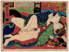 """Original shunga woodblock print by an Utagawa school artist - 'Preliminary of Love' from the series """"A Mirror of Success and Good Fortune"""" - Japan - ca. 1850"""