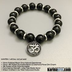 Use Black Onyx to encourage happiness and good fortune. Black Onyx is a strength-giving stone and can provide support for self-discipline issues. Because it helps to hold physical memories, Black Onyx can be useful in healing old wounds or past life issues.      #yoga #gifts #OM #mantra #Chakra #stretch #bracelets #LOA #lucky #love #lawofattraction #jewelry #charm #spiritual #mens