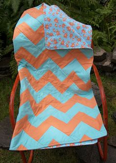 Chevron Baby Quilt  Cotton and Flannel by asjoy on Etsy