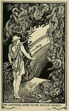Henry Justice Ford - The crimson fairy book, edited by Andrew Lang, 1903 (illustration Vintage Illustration Art, Fantasy Illustration, Illustrations And Posters, Megan Hess, Fable, Scrapbook Blog, The Shepherd, Surreal Art, Faeries