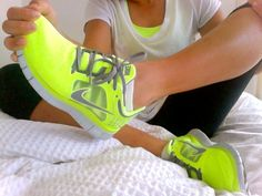 girl cute shoes fitspo nike yellow running fitness workout fitspiration