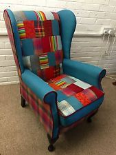 Newly reupholstered Hand made vintage   Wingchair  in patchwork design