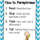 ***FREEBIE*** This is the anchor chart I use with my students to help them paraphrase facts.
