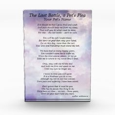 Pet loss memorial keepsake. A beautiful pet's plea for letting go, breaks your heart to think of it, I know, I have older pets too- this is a beautiful plea from the pet's point of view. Great for Pet funeral home or veterinarian office or just as a reminder, you did what needed to be done and for that I am sorry.. :( I recently had to make this decision for my Beloved BabyGirl so I do know your pain.