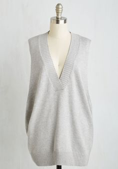 Classics Curator Vest. Scouring for treasures tucked away in the corners of the second-hand bookstore, you hunt with attentiveness and accuracy while layered in this staple-worthy grey vest. #grey #modcloth