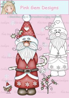 Card Making 1 Pre Coloured png and 1 Black Line png Included Christmas Rock, Nordic Christmas, Christmas Gnome, Xmas, Christmas Drawing, Christmas Paintings, Digital Stamps Free, Christmas Applique, Old Fashioned Christmas