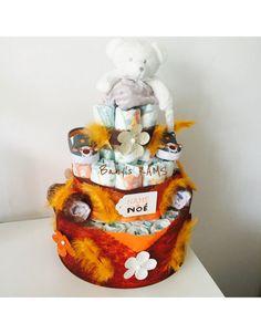 Gâteau de couches mixte orange et marron Baby Shower
