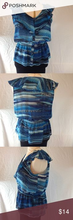 NWOT Miss Tina by Tina Knowles Blouse Beautiful slimming Blouse with cinched waist two tone blue in color... Miss Tina by Tina Knowles Tops Blouses