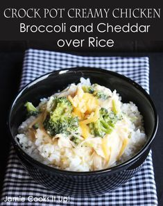 Crock Pot Creamy Chicken, Broccoli and Cheddar over Rice from Jamie Cooks It Up!