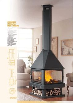 central fireplace chimenea (wood-burning closed hearth ) HUELVA by MET MANN