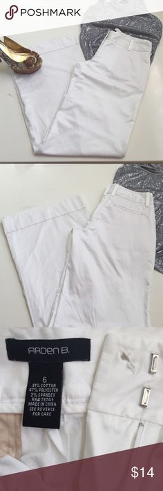 Gorgeous Arden B dress pants Arden B, Sz 6, gorgeous wide leg, white dress pants with a bit of shine, so beautiful! Get out your highest high heels ladies, 33in inseam with cuffed hem. 12.5 in ankle. Perfect for all the holiday parties, especially for those of us who don't love dresses . I did find a tiny stain on the cuff when I was measuring, you will never know it's there, promise! These are a must have, you know you want them. Arden B Pants Wide Leg