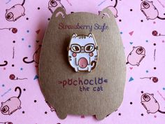 Get 2 Cat Enamel Pin FREE SHIPPING Pochoclo The by strawberrystyle