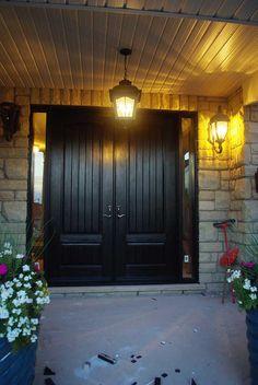 Fiberglass Double Entry Doors | Exterior Door-Woodgrain Fiberglass Double Solid Front Door with Rustic ...