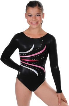 Fanfare Version B Gymnastics Competition Leotard~ This lovely Fanfare Gymnastics Competition Leotard is gorgeous. You will look amazing on the floor wearing this stunning leotard. The style and design are great. Order today! Version B Body - Black mystique, Accents Cherry mystique, Lt Pink mystique and silver hologram.