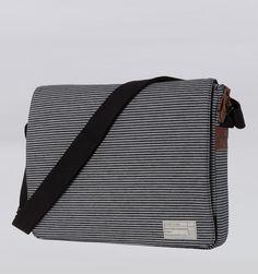 "Hex 15"" MacBook Pro   iPad Messenger Bag - Fleet Black/Grey Stripe - Rushfaster.com.au Australia"