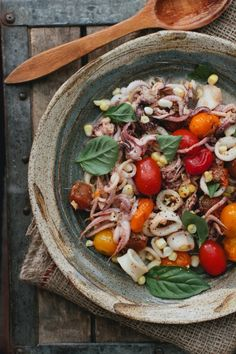 Squid with Burst Cherry Tomatoes by athoughtforfood #Seafood #Squid