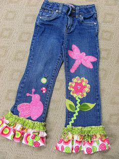 Adorable & cute idea for a kids sewing projects - Embellishing jeans with ruffles and appliques...I need to do a video on this, huh?