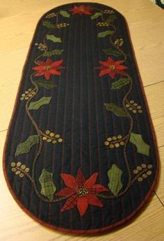 Holly & Poinsettia Table Runner from Primitive Gatherings