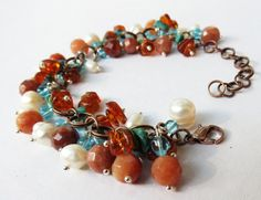 Natural Faceted Yellow Jade Natural Amber, Turquoise, Fresh Water Pearl bracelet by GypsyDreamerCafe, $32.50
