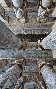 Astronomical ceiling in Hathor Temple at Dendera.'    Looking up in the outer hypostyle hall of the Hathor Temple at Dender...