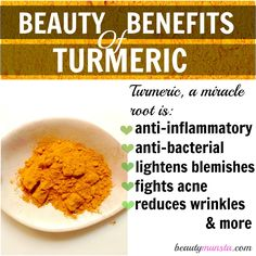 If I had to choose one important spice in beauty, it would be turmeric! Highly versatile, concentrated in anti-oxidants, the beauty benefits of turmeric can cure acne, promote healthy skin and increase radiance! Turmeric For Skin, Turmeric And Honey, Turmeric Soap, Organic Turmeric, Turmeric Health, Turmeric Uses, Turmeric Extract, Tumeric Face, Ground Turmeric
