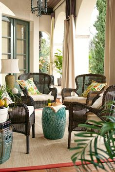 It may look vintage, but the Coco Cove collection from Pier 1 is something the classics never were: Weather-resistant. Hand-woven just like the originals, Coco Cove combines the durability of modern synthetic wicker with timeless details. A warm honey fin Outdoor Living Rooms, Outdoor Spaces, Living Spaces, Outdoor Decor, Outdoor Patios, Outdoor Curtains, Outdoor Kitchens, Wicker Furniture, Outdoor Furniture Sets
