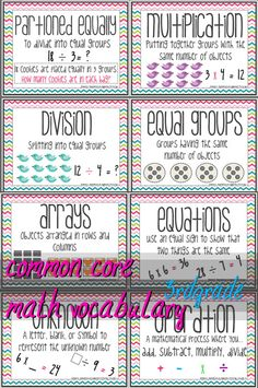 56 Common Core Vocabulary Posters with word - kid friendly definition - example - third grade :)