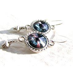 SALE, Blue Swarovski Crystal Earrings, Titan Rivoli Crystal Earrings,... ($26) ❤ liked on Polyvore featuring jewelry, earrings, belladonnasjoy, silver bead earrings, blue jewellery, swarovski crystals earrings, sterling silver jewelry and sterling silver bead earrings