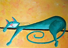 "Original Cat Painting for Sale ""Fantasy Cat: Little Pensive Cat"""