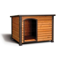 "Small, All-wood "";cedar""; colored dog house with weatherproof, asphalt shingled slanted roof, with plastic adjustable feet for uneven surfaces. Clear directions for easy assembly."