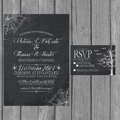 Halloween wedding invitation, modern, black and white, chalkboard, engagement party invite, reception only invite