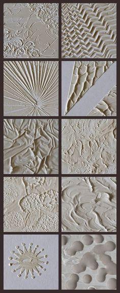 "10 ways to use modeling paste to create texture in a painting. <a href=""http://www.deschdanja.ch"" rel=""nofollow"" target=""_blank"">www.deschdanja.ch</a>"