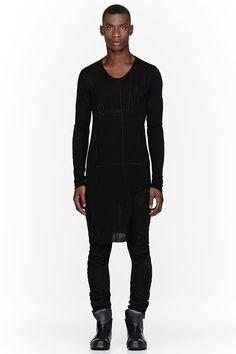 JULIUS Black Printed Rayon Cut-Out Side Shirt