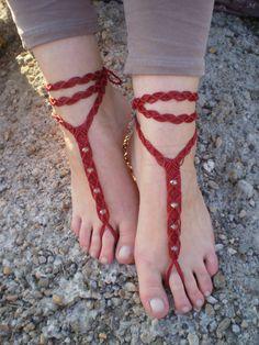 Macrame barefoot sandals, red barefoot sandals | littlequince -  on ArtFire