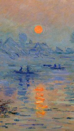 """Claude Monet, impression soleil levant (ce tableau est à la base du mouvement impressionniste. Monet avait la volonté de représenter """"l'instant, le moment"""" avec toutes les nuances de lumière qui l'entoure, donnant un coup de pinceau rapide et par petites touches)"""