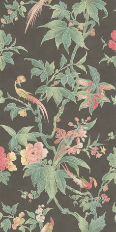 Little Greene Paradise Ebony Wallpaper - Cole and Sons - Living Room