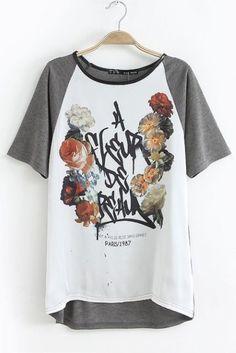 Letters Flower Print Color Contrast T-shirt