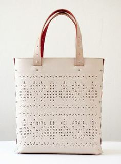 Pixelfolk leather bag with typical Hungarian motif - perforated pattern