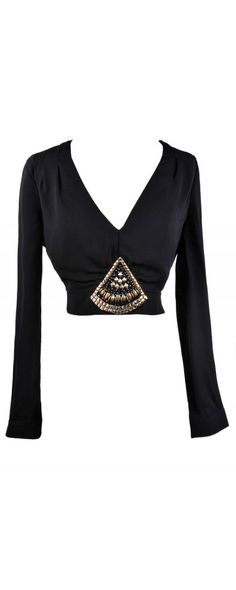 Lily Boutique Stop Short Embellished Crop Top in Black, $28- This would look awesome and glamorous with a high waist pencil skirt or tailored palazzo pants!