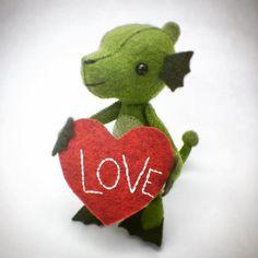 More Love! #cynthiatreenstudio #threadfollower #nessie #valentines #morelove #love #diylove #handstitching Hand Stitching, Fairy Tales, Valentines Day, Creatures, Love, Diy, Valentine's Day Diy, Amor, Bricolage