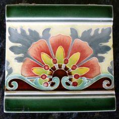 Jugendstil Fliese Art Nouveau Tile V B Mettlach Blüte Floral Stilisiert Top RAR | eBay