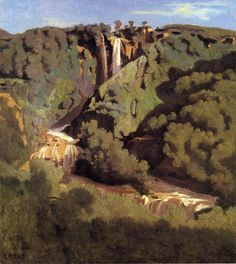 Cascade of Terni, 1826, Camille Corot Size: 32x36 cm Medium: oil, canvas
