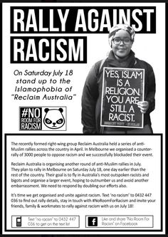 I hope to see every Melbourne feminist protest the fascists on July 18: fighting racism is feminist business. #auspol