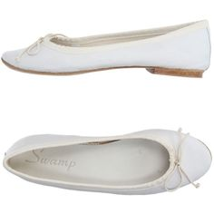 Swamp Ballet Flats ($76) ❤ liked on Polyvore featuring shoes, flats, white, ballet pumps, white flat shoes, white leather shoes, leather shoes and white ballet shoes